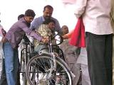 wheel chairs for poor people given by balasai trust