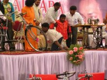 Tricycles for handycaped distributed by the Balasai Central Trust