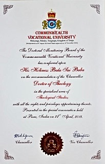 AWARD for Sri Bala Sai Baba from Commonwealth Vocal University